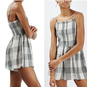 Topshop gingham plaid Strappy romper play suit
